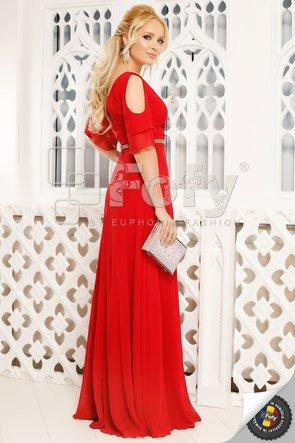 Rochie de ocazie roșie cu volănașe și decolteu petrecut