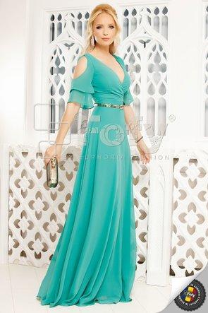 Rochie de ocazie  lunga verde din voal cu volănașe și decolteu petrecut