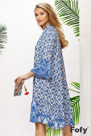 Rochie de vara albastra din vascoza racoroasa imprimeu floral