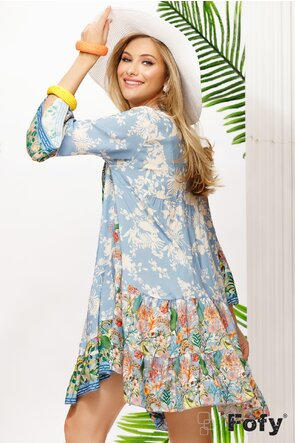 Rochie de vara bleu din vascoza racoroasa cu imprimeu floral