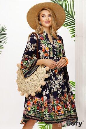 Rochie de vara bleumarin din vascoza racoroasa cu flori stilizate