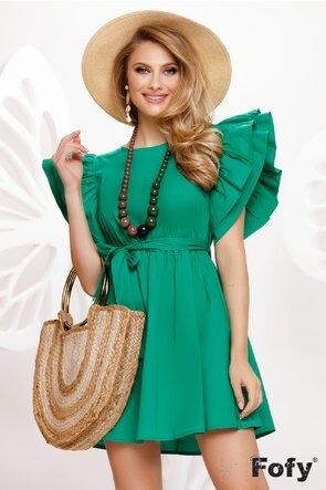 Rochie de vara larga din bumbac verde cu volane