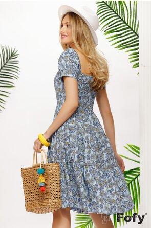 Rochie de vara midi din bumbac imprimat cu maneci bufante