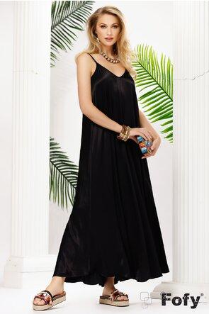 Rochie de vara neagra lunga din vascoza satinata