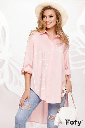 Rochie de vara stil camasa oversize din bumbac roz cu pisici