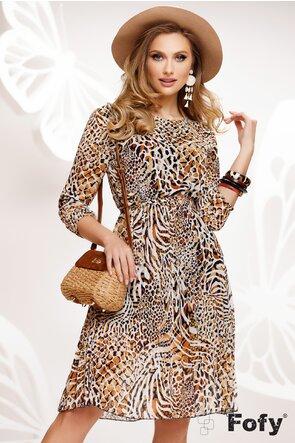 Rochie diafana cu imprimeu animal print si fusta plisata