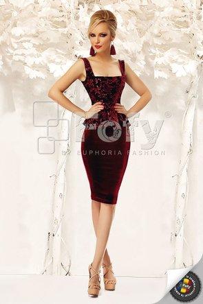 Rochie elegantă bordo din catifea cu paiete
