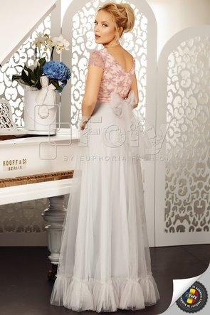Rochie elegantă cu bust din dantelă roz