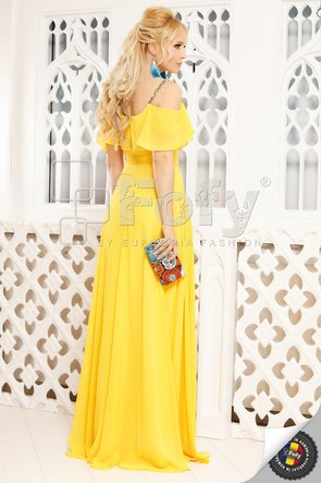 Rochie elegantă din voal galben cu umeri căzuți