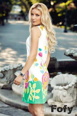 Rochie Fofy bumbac satinat imprimeu floral efervescent