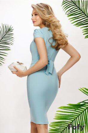 Rochie Fofy de ocazie bleu cu pliuri si colier de perle