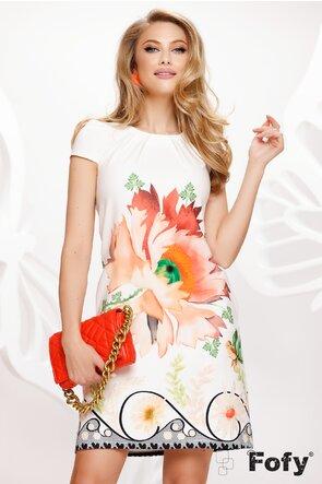 Rochie Fofy de vara cu buzunare si croi lejer imprimeu floare brodata