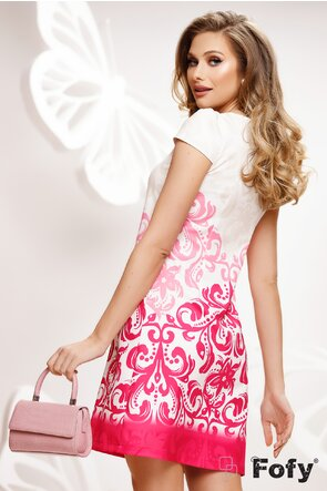Rochie Fofy de vara cu buzunare si croi lejer imprimeu floral roz