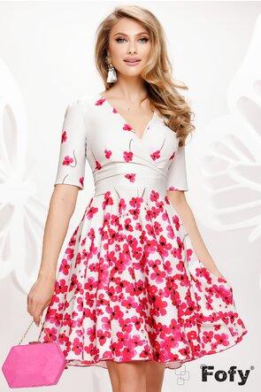Rochie Fofy de vara decoltata clos cu imprimeu floral ciclame