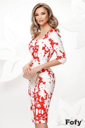 Rochie Fofy eleganta conica cu crapatura pe picior corai cu alb