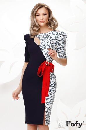 Rochie Fofy eleganta cu decupaj si brosa detasabila in contrast