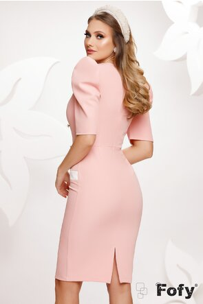 Rochie Fofy eleganta roz decolteu marcat si maneci bufante