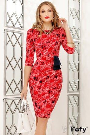 Rochie de dama rosie cu esarfa in talie