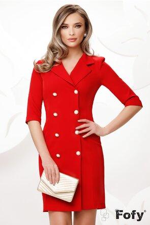 Rochie Fofy rosie stil sacou cu nasturi pretiosi cu strassuri si perla maxi