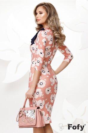 Rochie Fofy roz eleganta mulata imprimeu floral cu esarfa in contrast