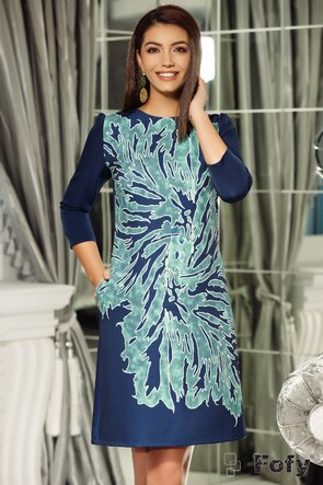 Rochie Fofy bleumarin cu imprimeu floral verde