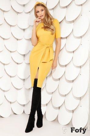 Rochie de dama galbenă cu volan stilizat