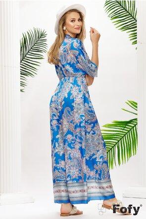 Rochie lunga de vara din saten albastru lejera cu crapatura pe picior