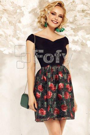 Rochie neagră de ocazie cu imprimeu floral