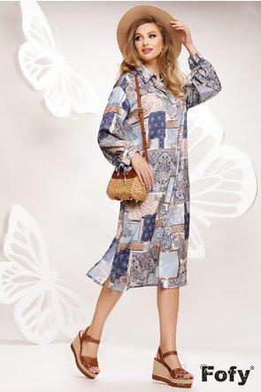 Rochie stil camasa satinata imprimeu geometric