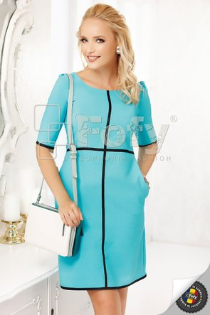 Rochie Fofy turquoise cu inserții decorative