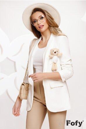 Sacou dama alb cu ursulet la buzunar