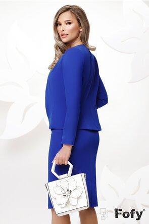 Sacou dama elegant Fofy albastru cu croiala cambrata
