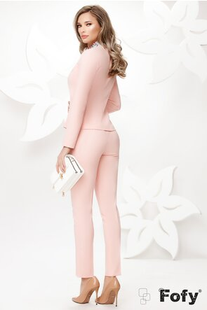 Sacou dama elegant Fofy roz cu croiala cambrata