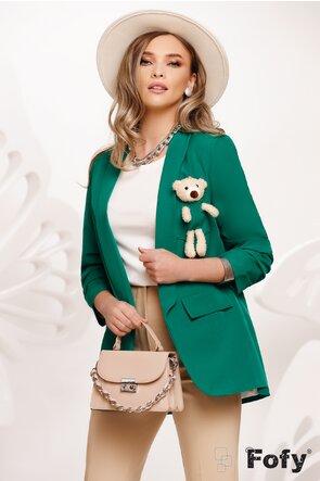 Sacou dama verde cu ursulet la buzunar