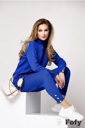 Trening dama tricotat albastru royal cu nasturi metalici