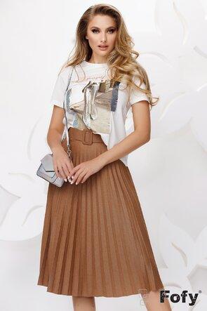 Tricou alb dama cu imprimeu modern