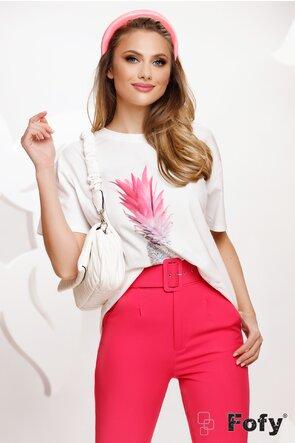 Tricou dama alb cu imprimeu ananas