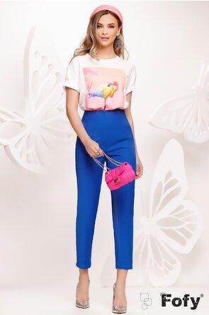 Tricou dama alb cu imprimeu flamingo