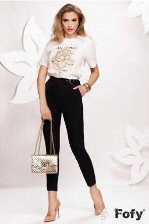 Tricou dama alb cu imprimeu floare aurie