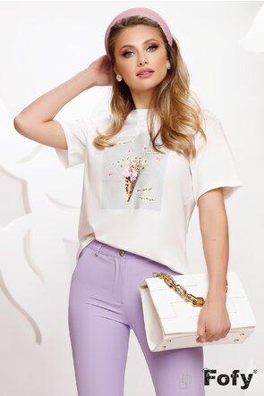 Tricou dama alb cu imprimeu gri cu floricele