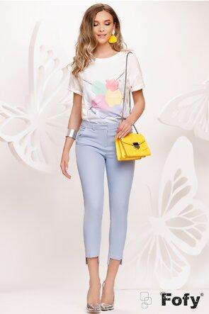 Tricou dama alb cu imprimeu in  culori  pastelate