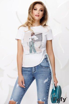 Tricou dama alb cu imprimeu si snururi laterale din saten si dantela