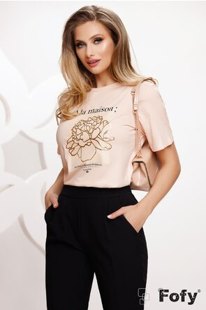 Tricou dama roz cu imprimeu floare aurie