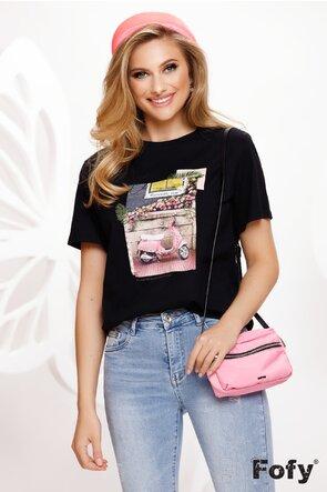 Tricou negru dama cu imprimeu retro chic