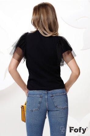 Tricou negru dama cu maneci de tull si aplicatii de strassuri