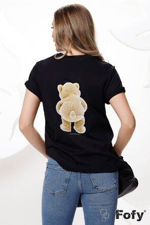 Tricou negru dama cu ursulet imprimat si pe fata si pe spate