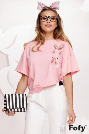 Tricou roz cu iepuras la buzunar