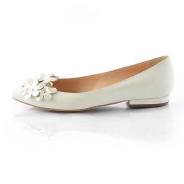 Balerini alb ivoire Love cu floricele