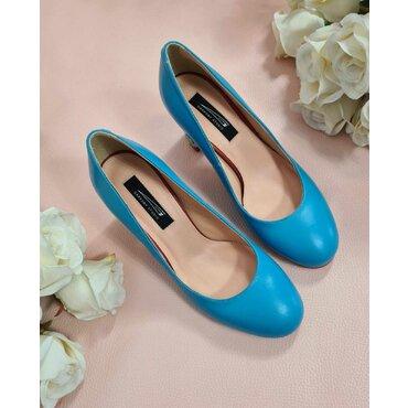 Pantofi albastri din piele naturala Joli C