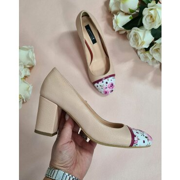 Pantofi bej cu imprimeu Dali